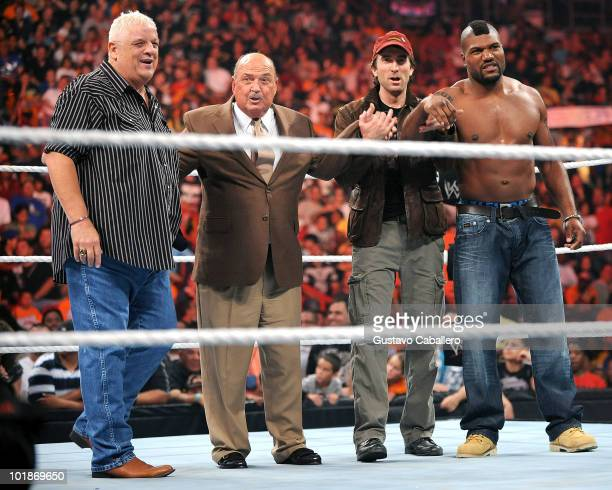 Dusty Rhodes Gene OkerlundSharlto Copley and Quinton 'Rampage' Jackson attend WWE Monday Night Raw at AmericanAirlines Arena on June 7 2010 in Miami...