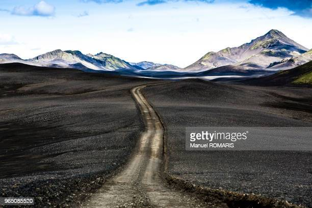 Dusty road crossing the volcanic ash in Lakagigar, Iceland