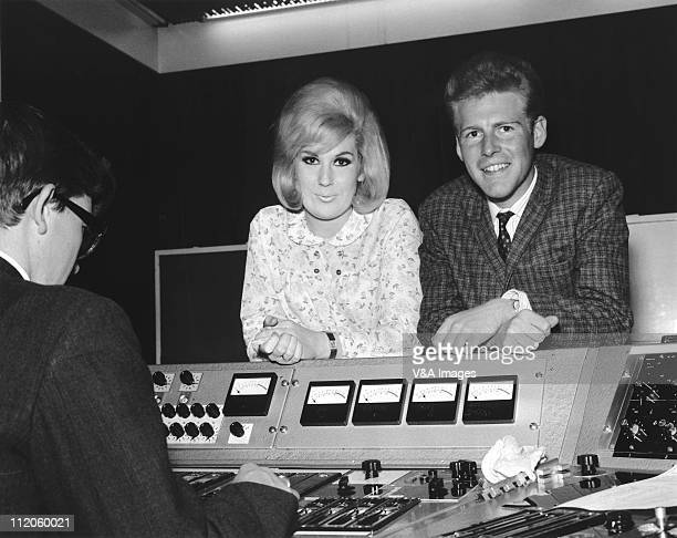 Dusty Springfield leaning on a mixing desk at Philips Records Recording Studio 1962