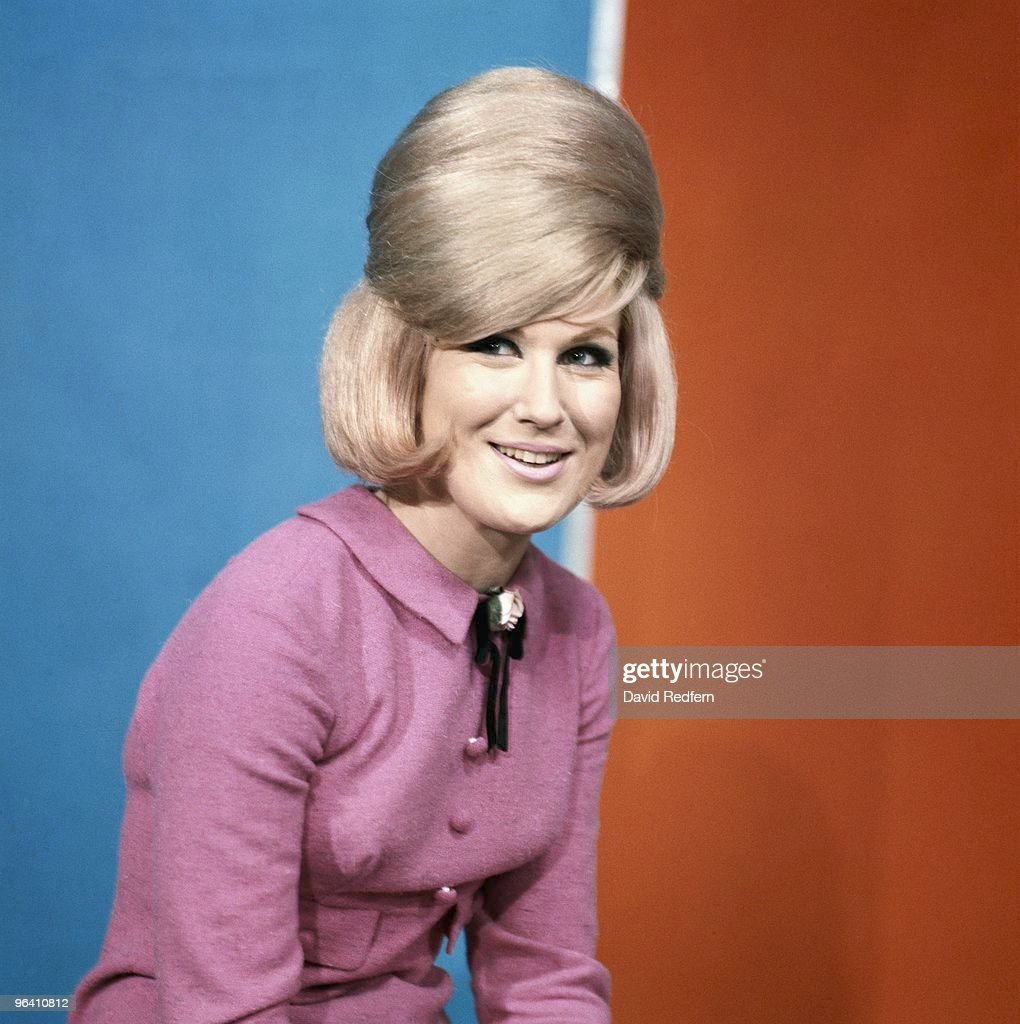 Dusty Springfield poses on the set of Thank Your Lucky Stars TV show in Aston Studios c 1966 in Birmingham, United Kingdom. Image is part of David Redfern Premium Collection.