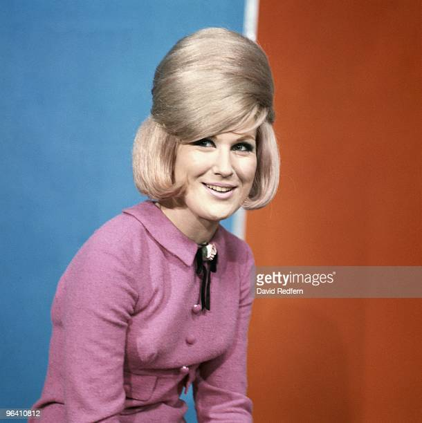 Dusty Springfield poses on the set of Thank Your Lucky Stars TV show in Aston Studios c 1966 in Birmingham United Kingdom Image is part of David...