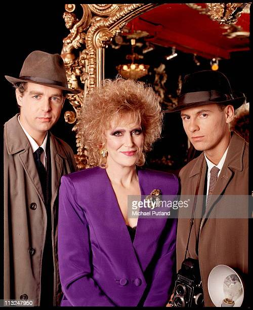 Dusty Springfield with the Pet Shop Boys dressed as 1960s journalists studio portrait shooting cover for 'Nothing Has Been Proved' single London...