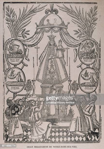 Dutch 19th century illustration showing the coronation of the Virgin Mary with Jesus Circa 1820