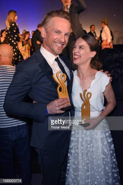 Dutch actor Barry Atsma and Paula Beer attend the Deutscher Schauspielpreis 2018 at Zoo Palast on September 14 2018 in Berlin Germany