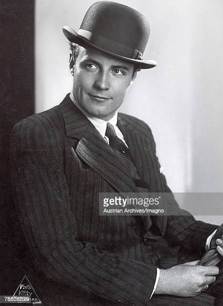 Dutch actor Johannes Heesters known as Jopie wearing a pin striped suit and bowler hat Austria circa 1933
