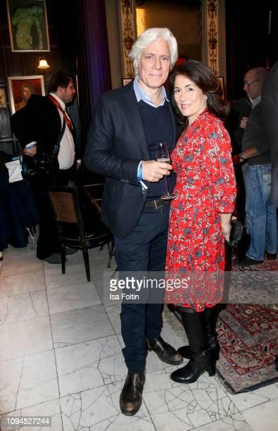 Dutch actor Philipp Brenninkmeyer and his wife Tara Lynn Orr attend the Blaue Blume Awards at Restaurant Grosz on February 6 2019 in Berlin Germany