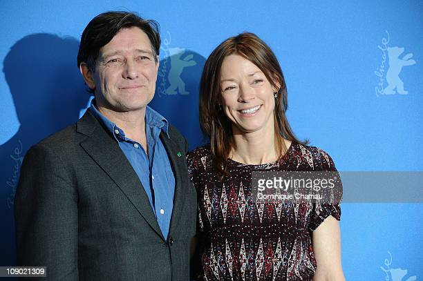 Dutch actor Pierre Bokma and German actress Jenny Schily attend the 'Schlafkrankheit' Photocall during day three of the 61st Berlin International...