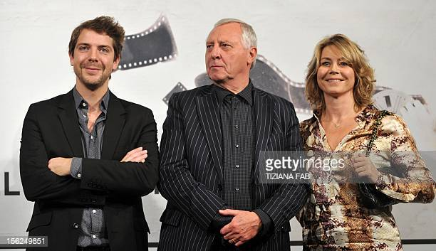 Dutch actor Ramsey Nasr British film director Peter Greenaway and Dutch actress AnneLouise Hassing pose during the photocall of 'Goltzius and the...