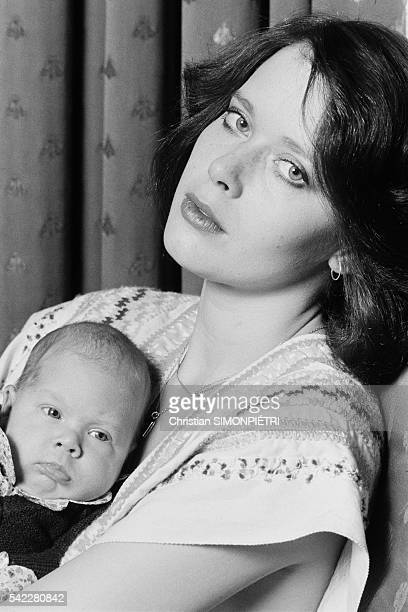 Dutch actress and model Sylvia Kristel and her newborn son Arthur at home in Amsterdam