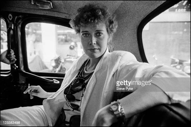 Dutch actress Sylvia Kristel in Goodge Street London 14th August 1984 She is best known for her role in the softcore erotic film 'Emmanuelle'