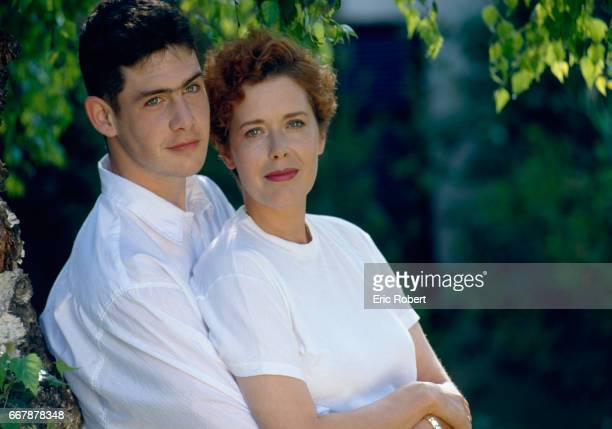 Dutch actress Sylvia Kristel with her son Arthur at home in Los Angeles