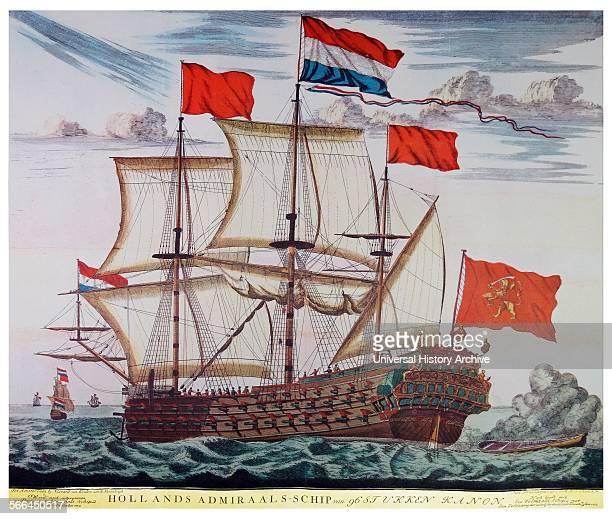 Dutch admiral's ship with 96 cannons Coloured engraving published by Gerard van Keulen Amsterdam Port side view of the threemasted sailing ship with...