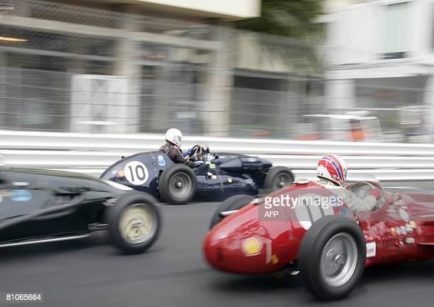 Dutch Adrien Van der Kroft and Italian Gigi Baulino drive during 6th MonteCarlo Historic Grand Prix Series B race in Monaco on May 11 2008 AFP PHOTO...
