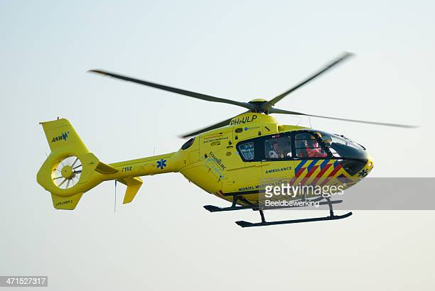 dutch air ambulance flying off - medevac stock photos and pictures