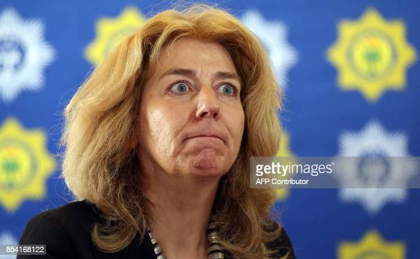 Dutch ambassador to South Africa Marisa Gerards react as she gives a press briefing on September 26 2017 in Johannesburg South Africa after a group...