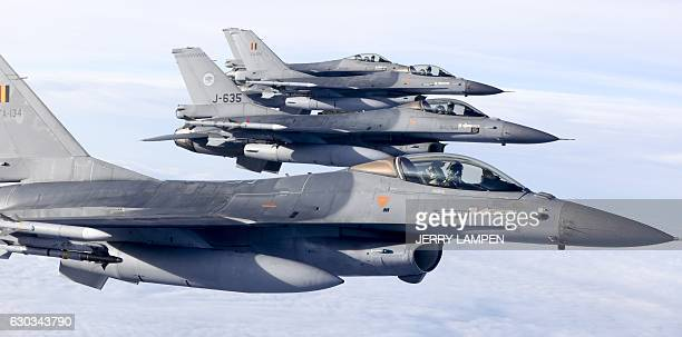 Dutch and Belgian F16 aircrafts fly over the Netherlands prior to the signing of an agreement between Benelux countries to work together to monitor...
