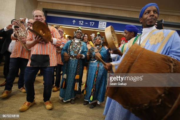 Dutch and Moroccan musiciand perform together at the 2018 International Green Week agricultural trade fair on January 19 2018 in Berlin Germany The...