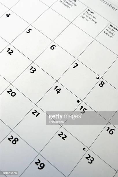Dutch angle close-up of a calendar.