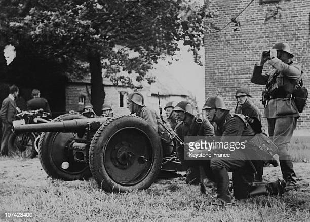 Dutch Artillery Battery In Action In Netherlands On November 1939
