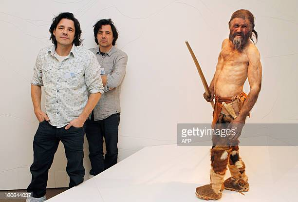 Dutch artist Adrie Kennis and Alfons Kennis the two artists who made the reconstruction of a mummy of an iceman named Otzi discovered on 1991 in the...