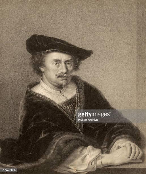 Dutch artist Rembrandt Harmenszoon van Rijn circa 1640 A lithograph by Joseph Selb after the original selfportrait