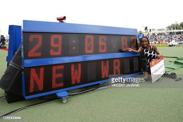 Dutch athlete Sifan Hassan wins the women's 10,000m during the FBK Games and sets new women's 10,000m world record in Hengelo on June 6, 2021. - -...