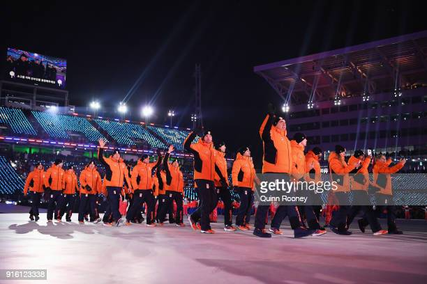 Dutch athletes during the Opening Ceremony of the PyeongChang 2018 Winter Olympic Games at PyeongChang Olympic Stadium on February 9 2018 in...