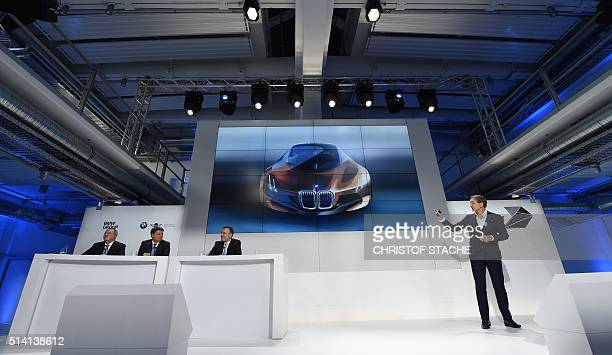 Dutch automobile designer Adrian van Hooydonk chief designer of German car maker BMW presents a concept car during a press conference to celebrate...
