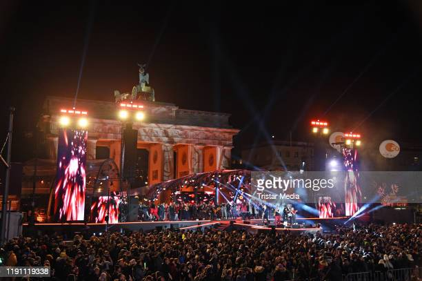 Dutch band Hermes House Band during the ZDF Live Show 'Willkommen 2020' Silvester am Brandenburger Tor on December 31 2019 in Berlin Germany