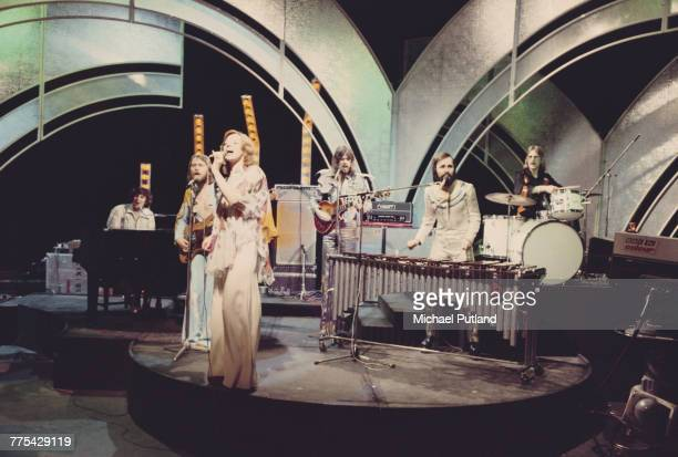 Dutch band TeachIn winners of the 1975 Eurovision Song Contest and featuring singer Getty Kaspers perform on the BBC TV music show 'Top Of The Pops'...
