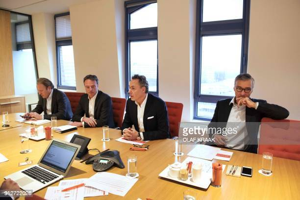 Dutch bank ING CEO Bank Ralph Hamers CFO Koos Timmermans and CRO Steven van Rijswijk attend the presentation of the company annual figures for 2017...