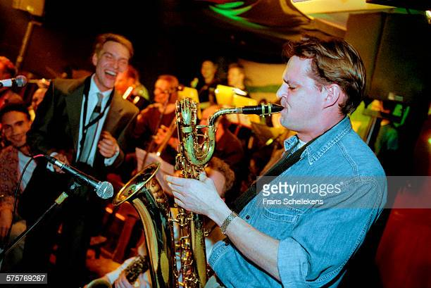 Dutch baritone saxophone player Jan MENU performs with New Cool Collective at the Meander on January 19th 1998 in Amsterdam, Netherlands.