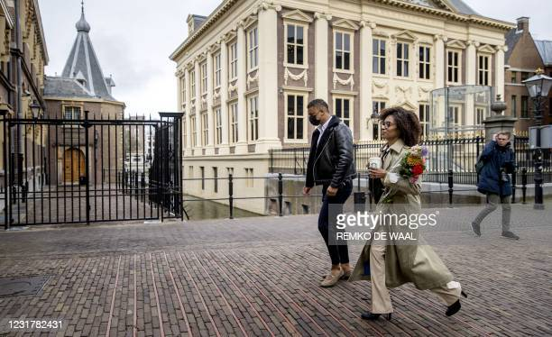 Dutch BIJ1 Party leader Sylvana Simons arrives at the Binnenhof in The Hague, on March 18 the day after the Dutch parliamentary elections. - Dutch...