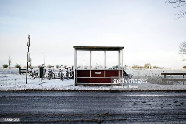 Dutch busstop in winter