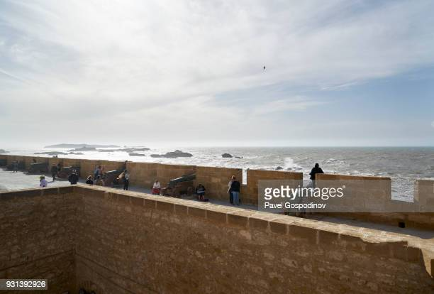 Dutch cannons at The Skala du Port in the Medina of Essaouira (Old town), Morocco