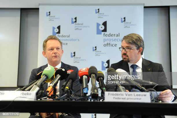 Dutch Chief Prosecutor Fred Westerbeke and Belgium's Federal Prosecutor Frederic Van Leeuw speak during a press conference about a joint...