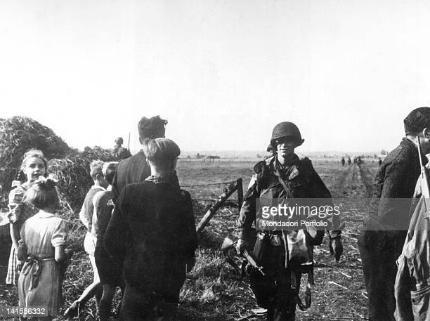 Dutch civilians welcoming some US paratroopers in the countryside around Arnhem Arnhem October 1944