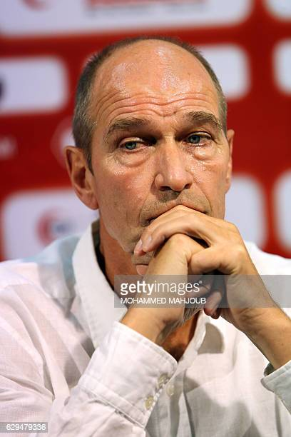Dutch coach Peter Tim Verbeek known as Pim Verbeek looks on during a press conference after signing a contract to coach the Omani national football...