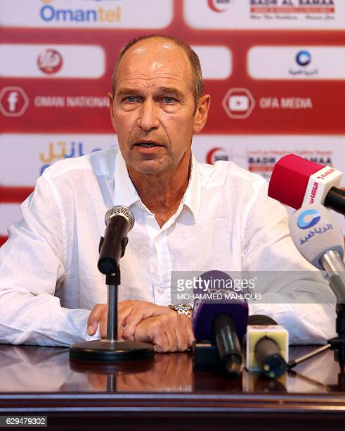 Dutch coach Peter Tim Verbeek known as Pim Verbeek speaks during a press conference after signing a contract to coach the Omani national football...