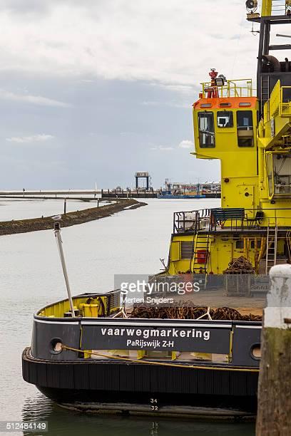 dutch coastguard seagoing buoyage tender - merten snijders stock-fotos und bilder
