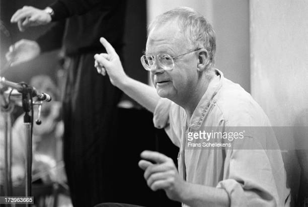 Dutch composer Louis Andriessen posed at the IJsbreker in Amsterdam Netherlands on 13th May 1989