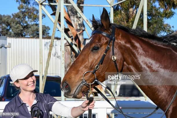 Dutch Courage after winning the Euston Club Resort BM58 Handicap at Mildura Racecourse on July 03 2017 in Mildura Australia