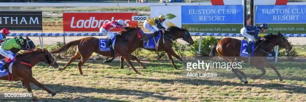 Dutch Courage ridden by Jarrod Fry wins the Euston Club Resort BM58 Handicap at Mildura Racecourse on July 03 2017 in Mildura Australia
