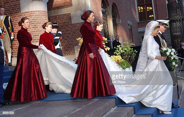 Dutch Crown Prince Willem Alexander and Crown Princess Maxima Zorreguieta leave the church after their wedding February 2 2002 in Amsterdam Holland