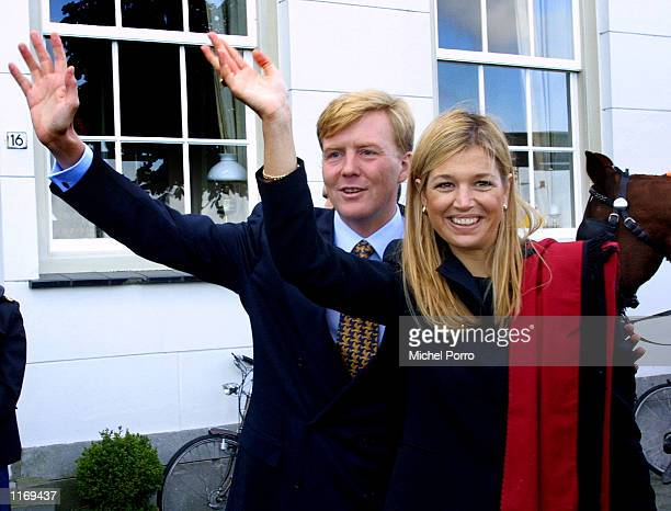 Dutch Crown Prince Willem Alexander and his Argentinian fiance Maxima Zorreguieta visit the Dutch city of Dordrecht October 8, 2001. The couple is...
