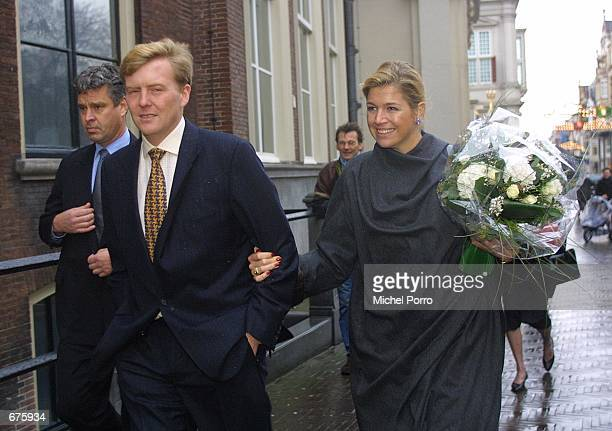 Dutch Crown Prince Willem Alexander and his fiance Maxima Zorreguieta leave the Raad van State after their visit December 5 2001 to the highest...