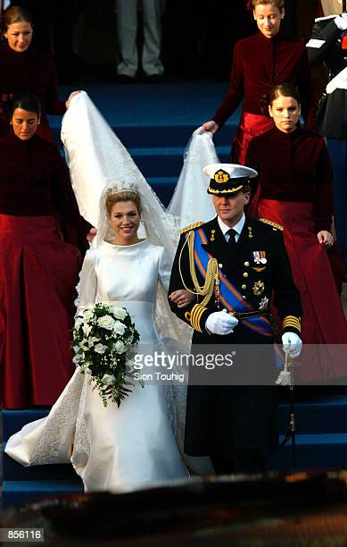 Dutch Crown Prince Willem Alexander and his new bride Crown Princess Maxima Zorreguieta leave the bers van Berlage building after the first phase of...