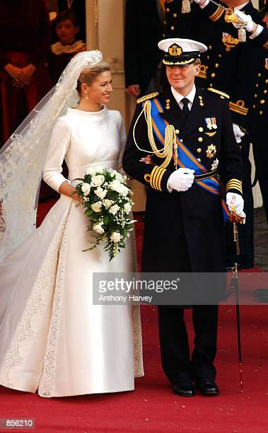 Dutch Crown Prince Willem Alexander and his new bride Crown Princess Maxima Zorreguieta leave the Church February 2 2002 following their wedding in...