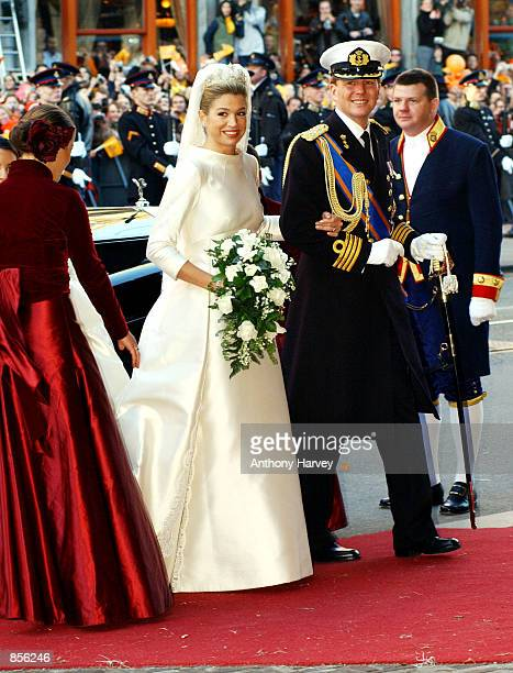 Dutch Crown Prince Willem Alexander and his new bride Crown Princess Maxima Zorreguieta February 2 2002 arrive at the church before their marriage in...