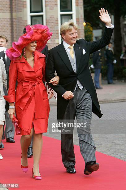 Dutch Crown Prince Willem Alexander and Princess Maxima arrive for the church wedding of Prince Pieter Christiaan and Anita van Eijk at the...